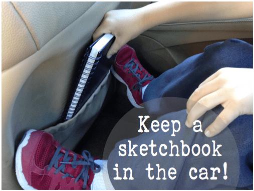 Keep a sketchbook in the car