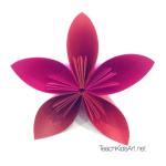 Origami Flower Balls - Step 3. Glue 5 petals together to form one flower.