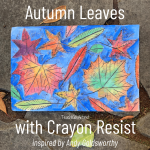a colorful autumn leaves art project with crayon resist and watercolor - for grades 1 & up