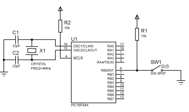 Input Output PIC16F84A circuit
