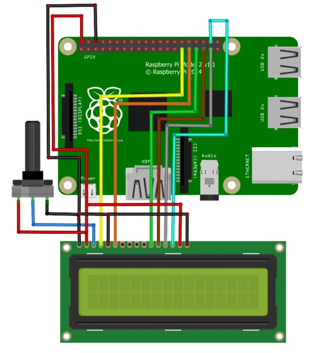 Raspberry Pi LCD circuit