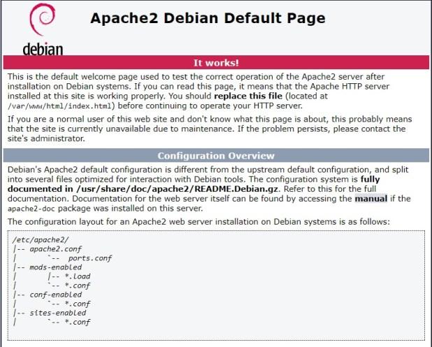 Raspberry Pi Zero Web Server default page