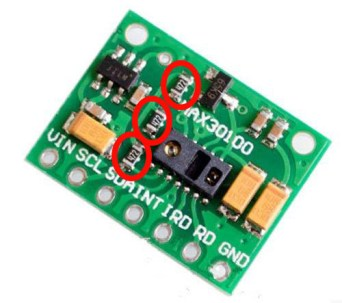 Remove these resistors from the MAX30100 module