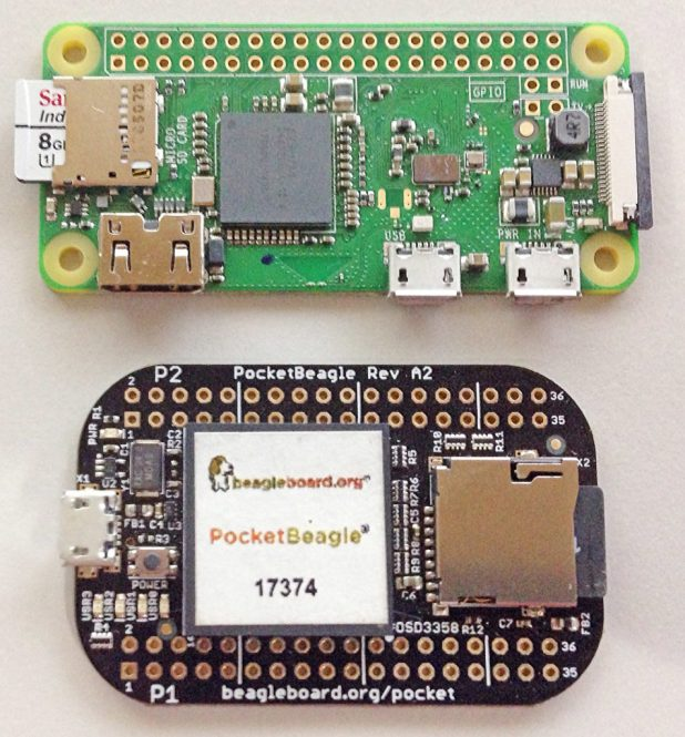 Raspberry Pi Zero vs. PocketBeagle Side by Side