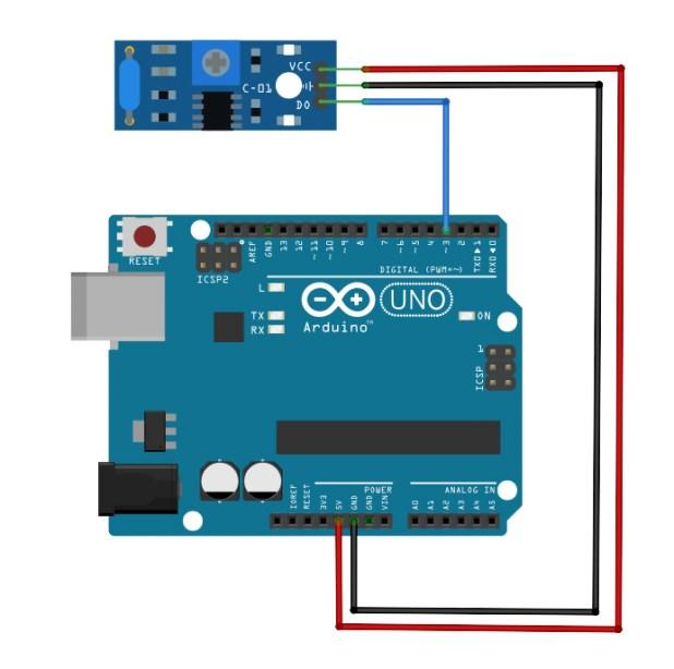 SW-420 Vibration Sensor Arduino Diagram