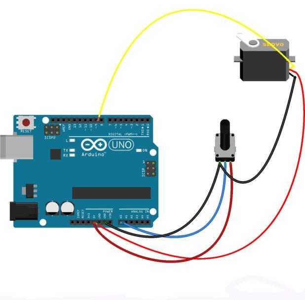 Arduino diagram for Knob sketch