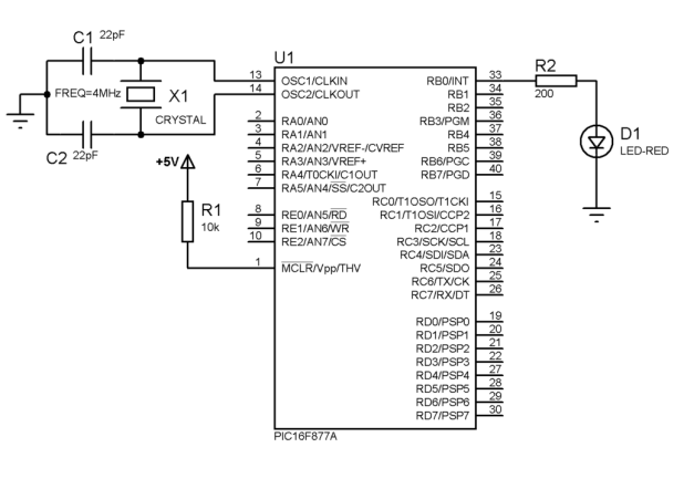 PIC16F877A Blink a LED circuit