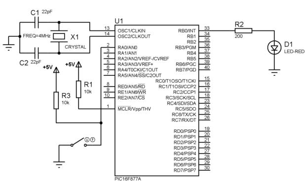 PIC16F877A LED Switch circuit