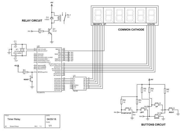 Adjustable Timer with Relay schematic