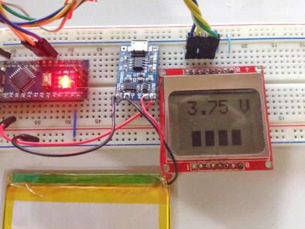 Arduino LiPo Battery Monitor actual setup