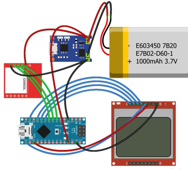 sim800L network test wiring diagram