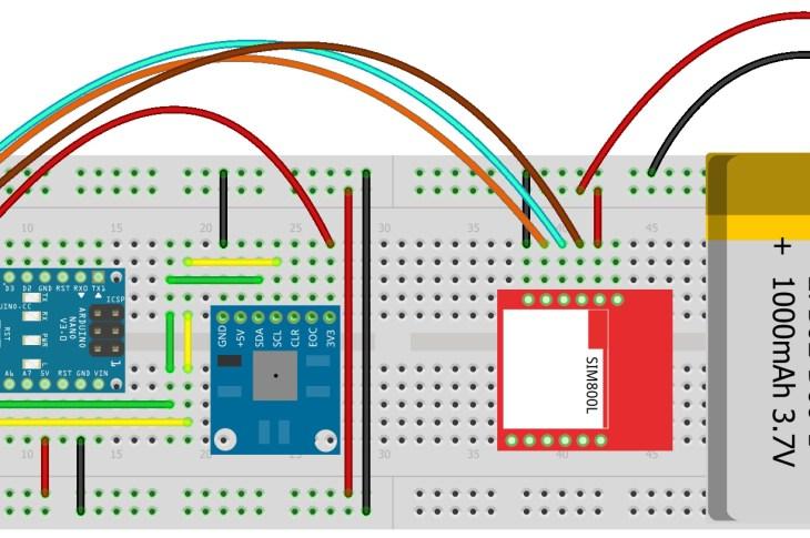 SIM800L ThingSpeak Fritzing Diagram