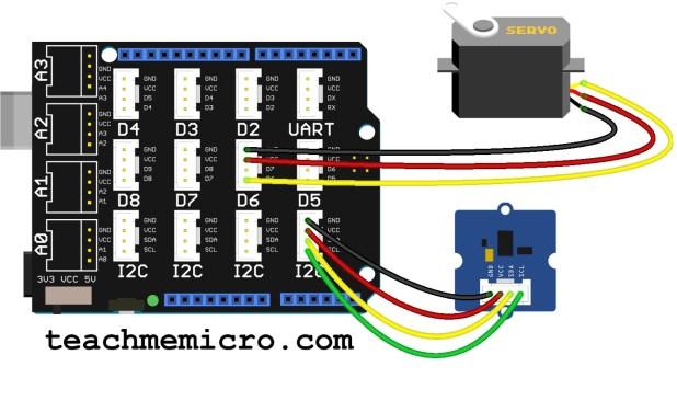 Grove gesture sensor servo motor project