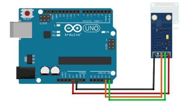 Arduino to BH1750 wiring diagram