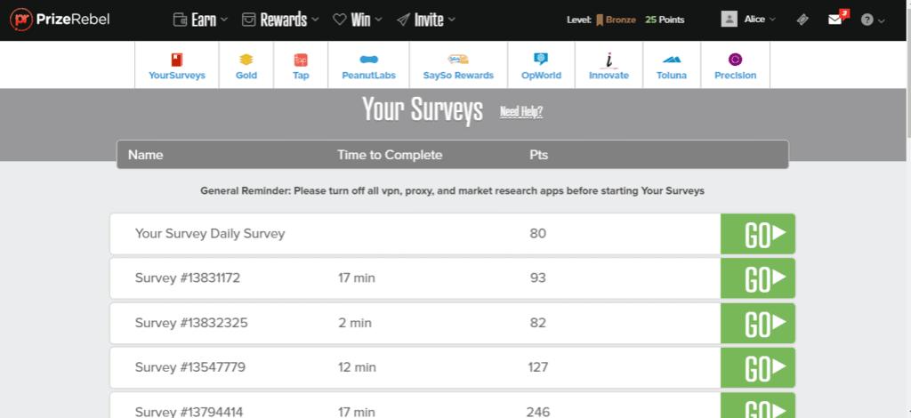 prizerebel surveys