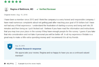 Vindale Research User Review
