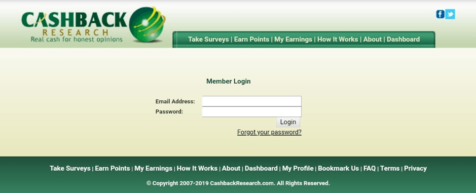 Cashback Research login