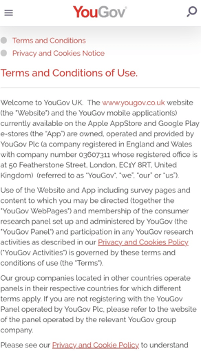 YouGov Terms and Conditions