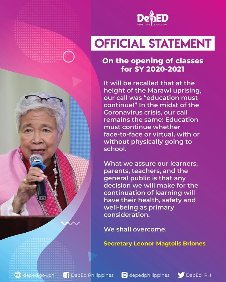 Deped Secretary Briones Official Statement on the Opening of Classes