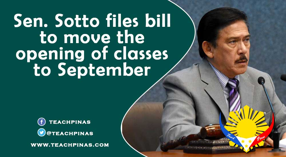 Sen. Sotto files bill to move the opening of classes to September