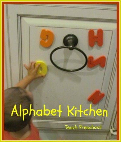 Alphabet kitchen for toddler play