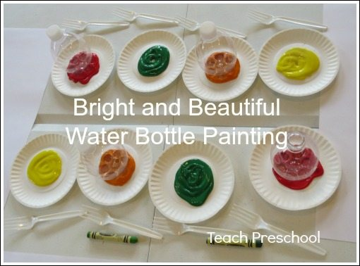 Bright and beautiful water bottle flower painting in preschool