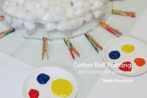 Building fine motor skills with cotton ball painting