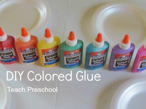 Designing with DIY colored glue in preschool