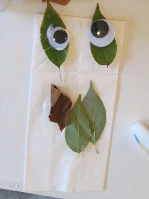 We made Leaf Man puppets in preschool