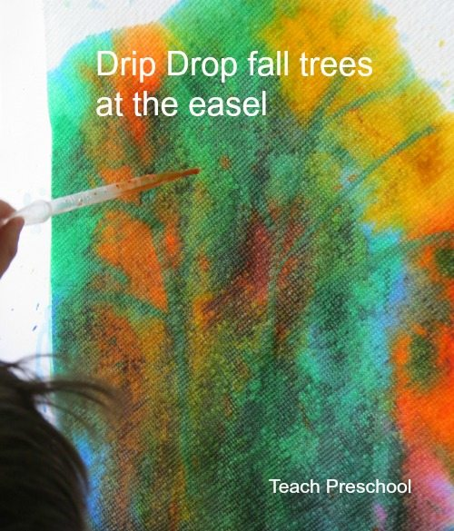 Drip drop fall trees at the easel
