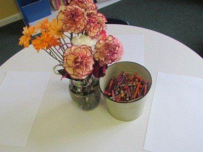 Still life flower drawings in kindergarten