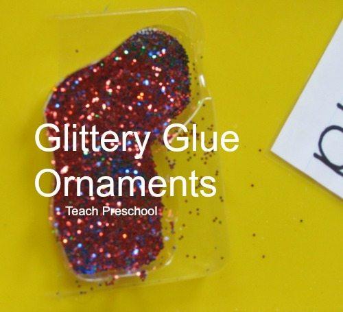 Glittery glue ornaments in preschool