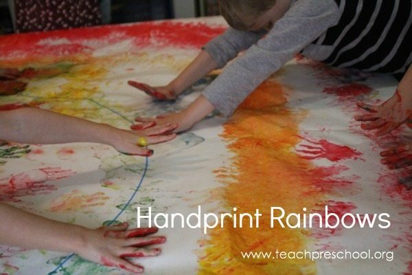 Handprint rainbow painting