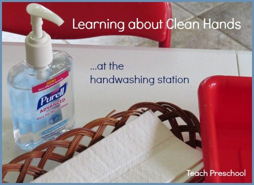 Learning about clean hands at the hand washing station