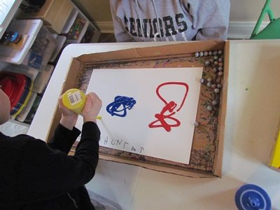 Marble painting with preschoolers