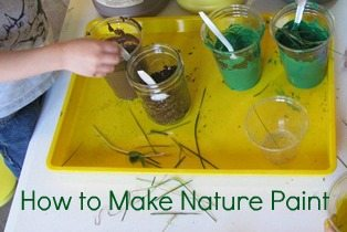 Making nature paint to explore the colors and textures of nature