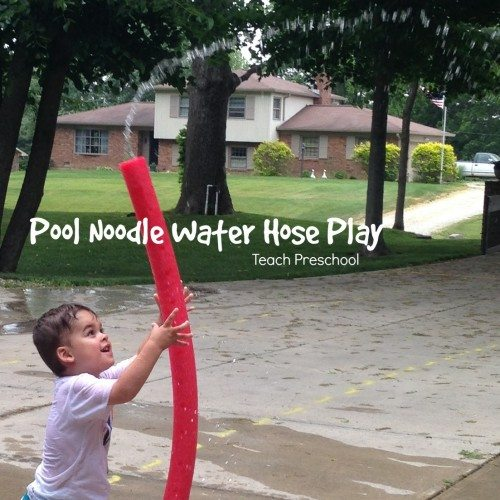 Pool noodle water hose play
