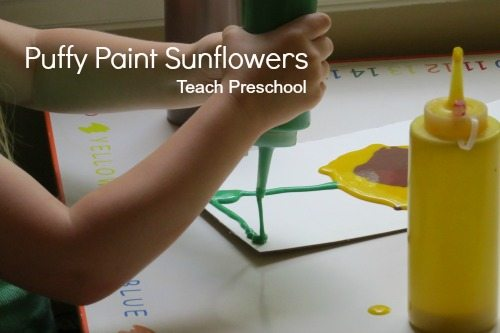 Puffy paint sunflowers