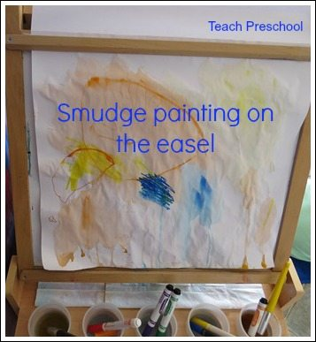 Smudge painting on the easel