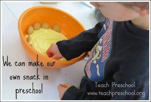 How we make our own snacks in preschool