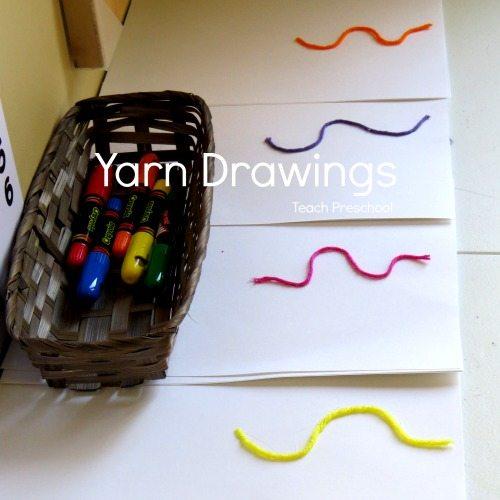 Yarn drawings in preschool