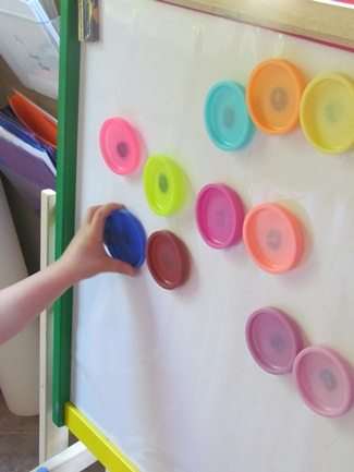 DIY play dough magnets for the magnetic board