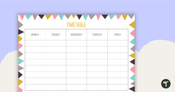 pastel flags - weekly timetable