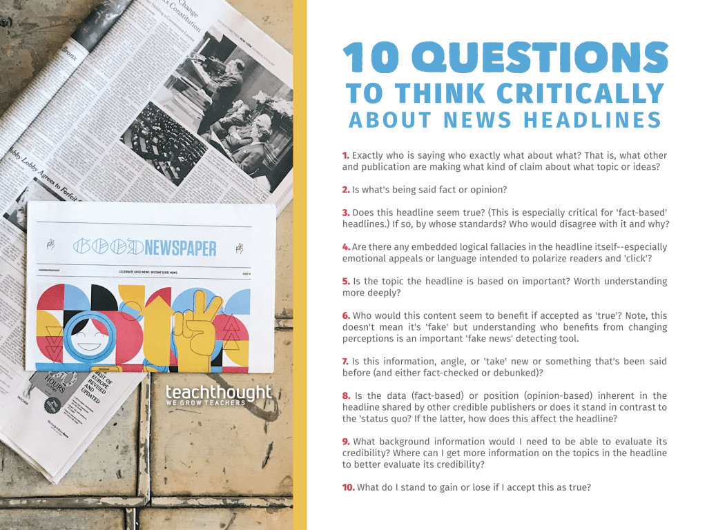 20 Questions To Help Students Think Critically About News