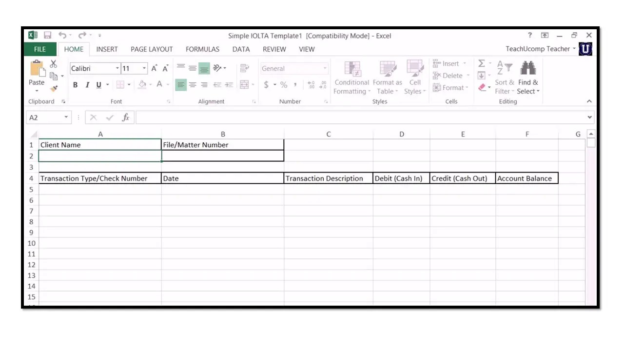 How to use IOLTA Management for Lawyers in Microsoft Excel