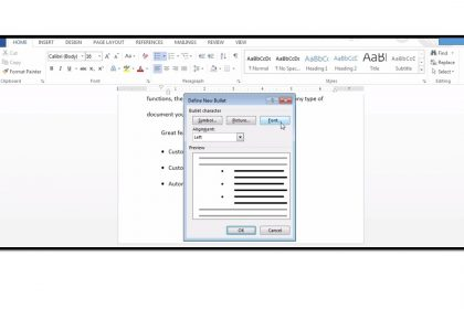 Applying Bullets or Numbering to a Document in Word 2013