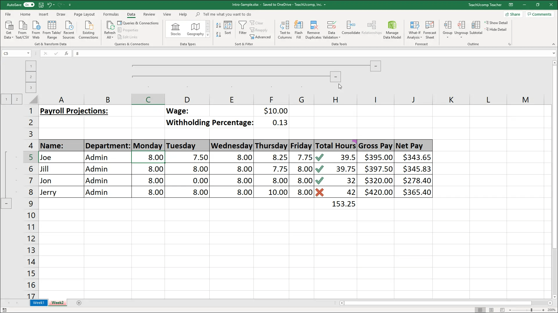 Outline Excel Data In Microsoft Excel