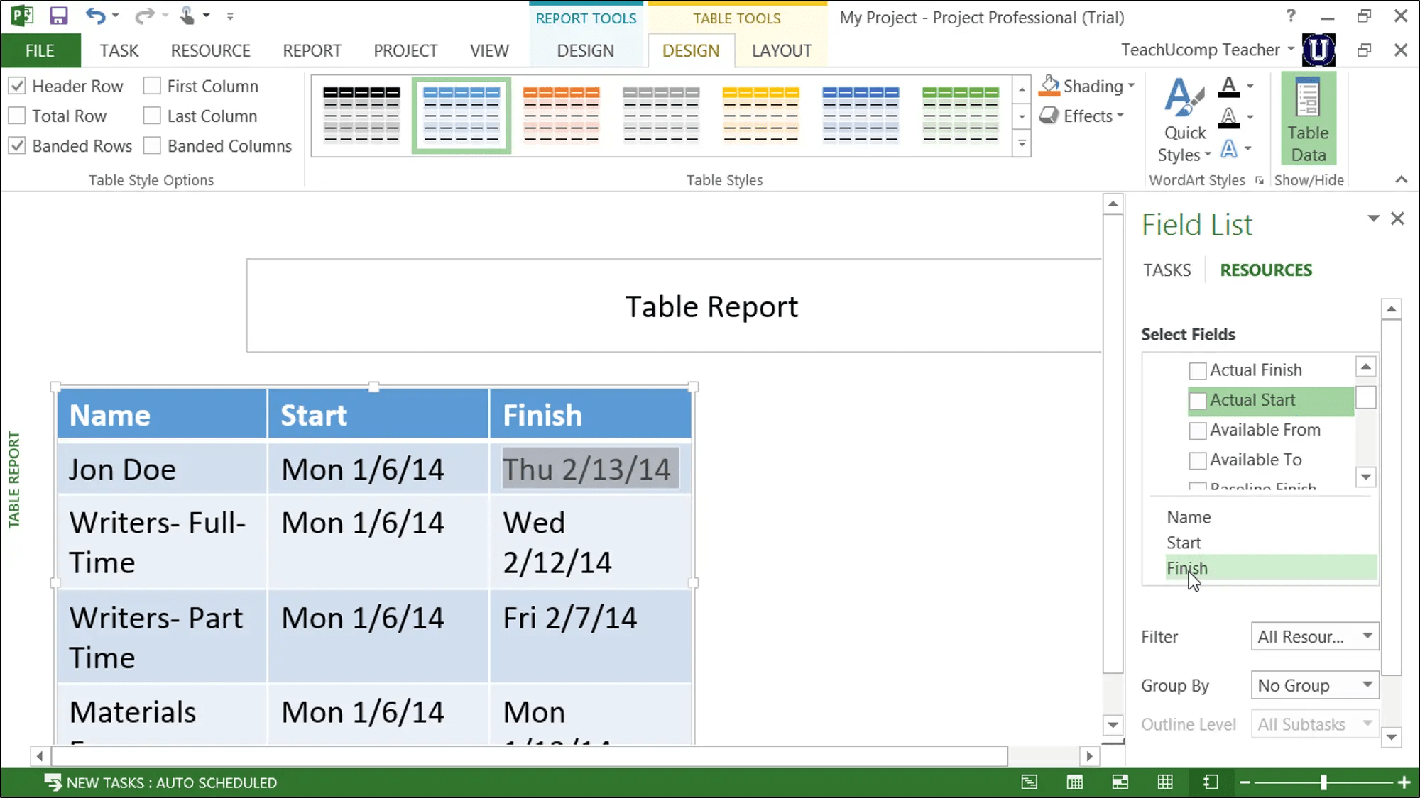 Report Tables In Project 2013 – Tutorial: A Picture Of A Report Table And  Its