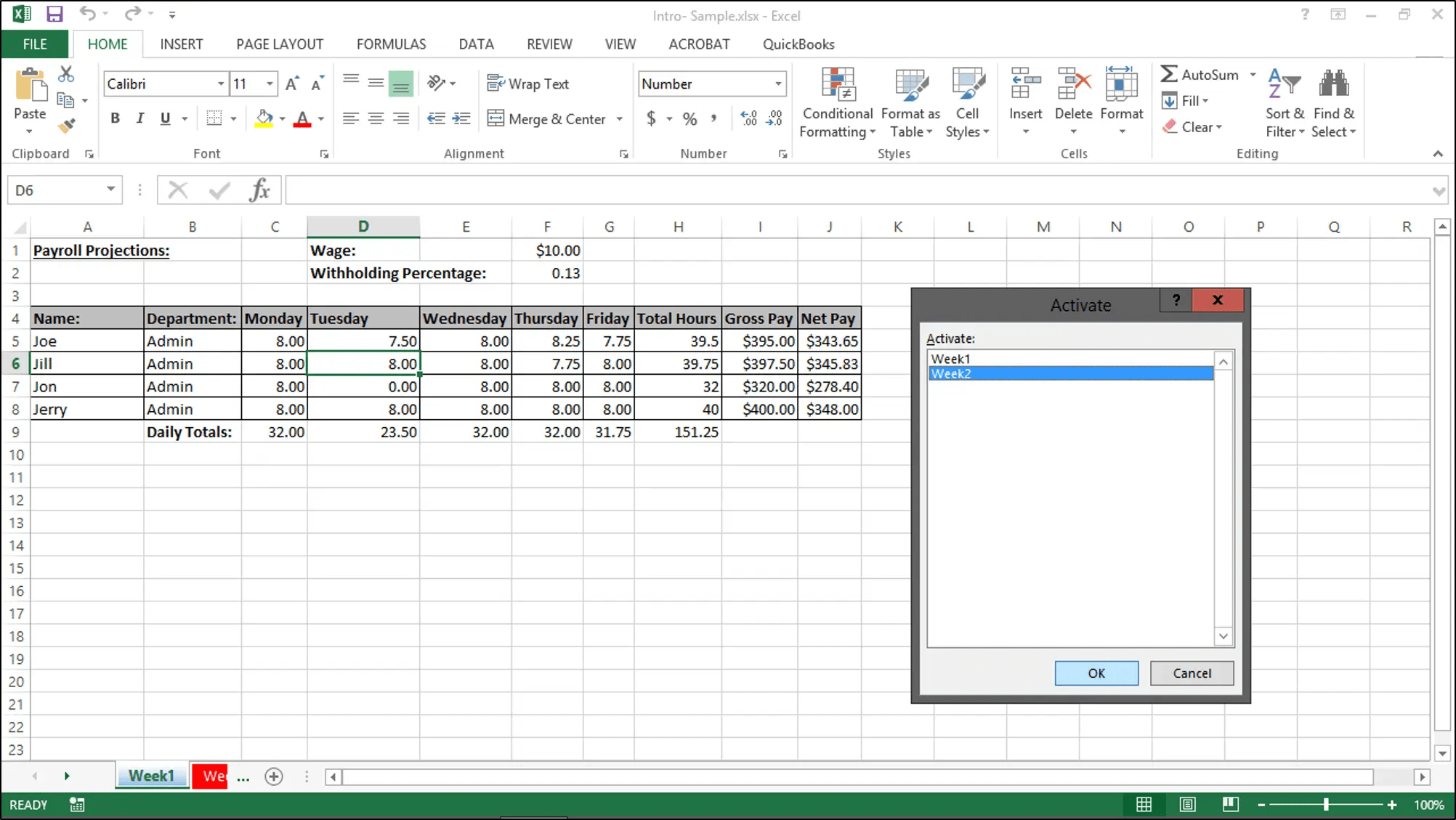Worksheet Tabs In Excel