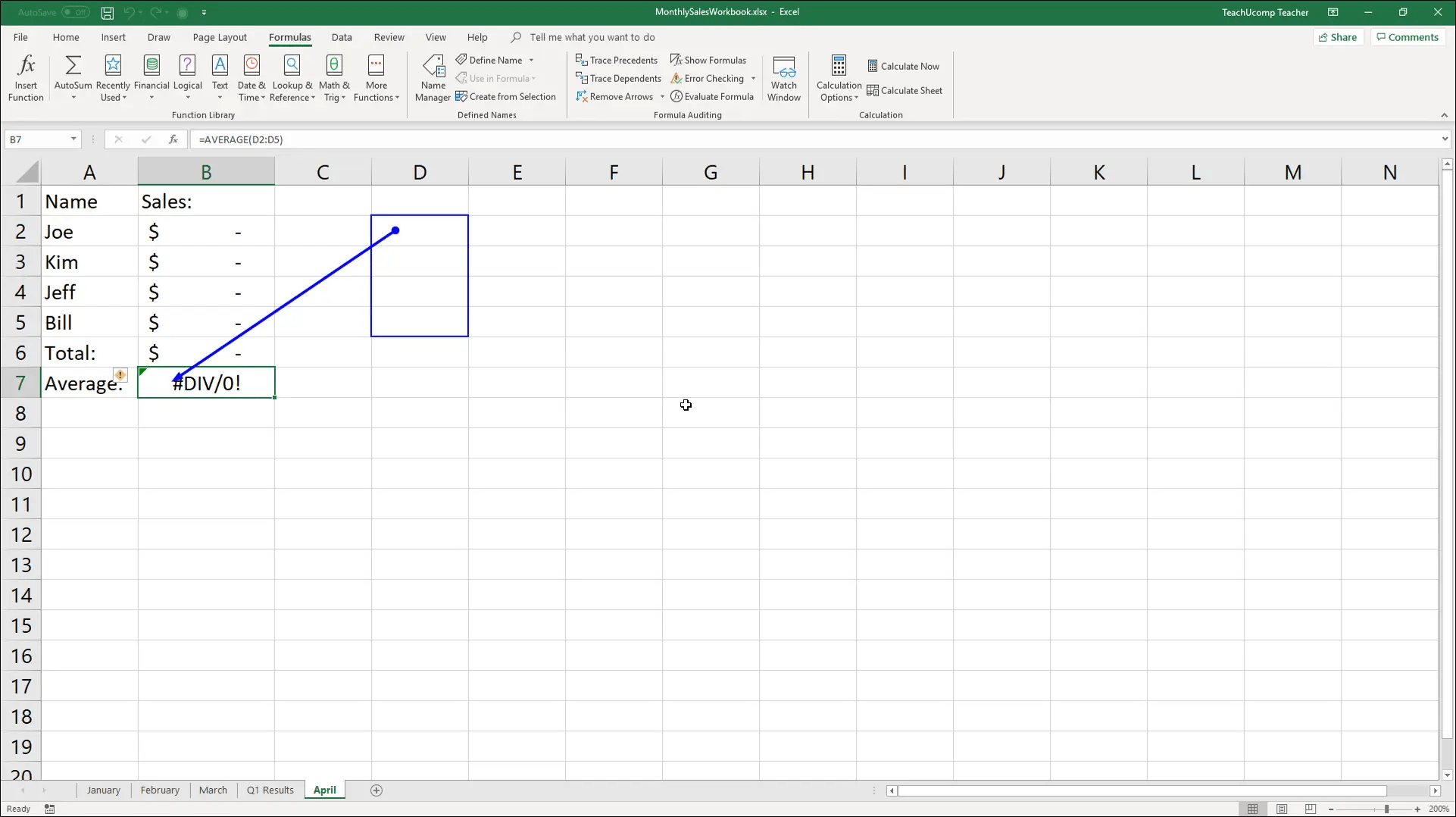 Trace Error In Excel
